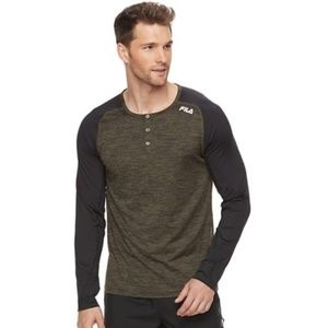 Fila Men's Athletic Long Sleeve Henley Shirt XXL